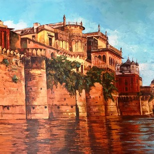 The Eternal City by Anukta Mukherjee Ghosh, Impressionism Painting, Acrylic on Canvas, Brown color