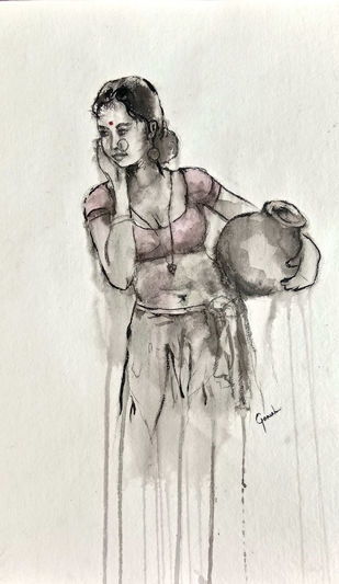 Indian Lady 14 by MADURAI GANESH, Illustration Painting, Watercolor and charcoal on paper, Beige color