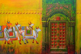 Door- 10 by Anil Kumar Yadav, Expressionism Painting, Acrylic on Canvas, Brown color