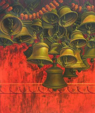 Bells-19 by Anil Kumar Yadav, Expressionism Painting, Acrylic on Canvas, Brown color