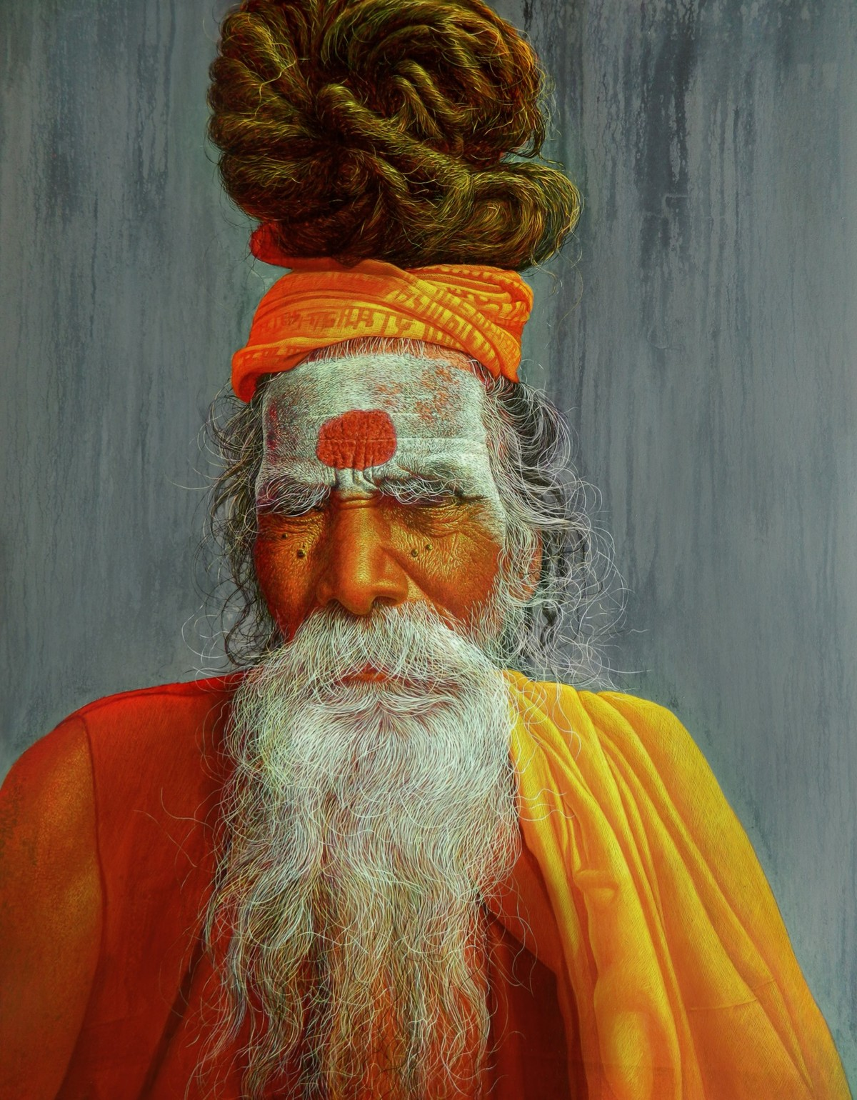 Sadhu -7 by Anil Kumar Yadav, Realism Painting, Acrylic on Canvas, Brown color