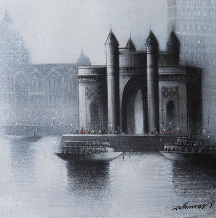 Gateway of India by Somnath Bothe, Impressionism Painting, Charcoal on Canvas, Gray color