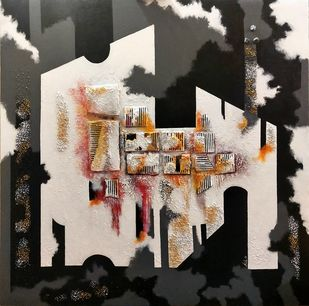 Radiant Fenestration by Ankita Dey Bhoumik, Abstract Painting, Mixed Media, Brown color