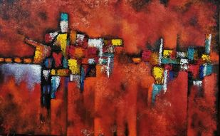 Linear Perception by Ankita Dey Bhoumik, Abstract Painting, Mixed Media, Brown color