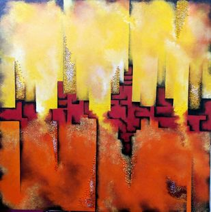 Skyline by Ankita Dey Bhoumik, Abstract Painting, Mixed Media, Beige color
