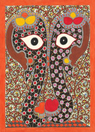 Elephant Couple by Sarita Devi, Folk Painting, Acrylic on Paper, Brown color