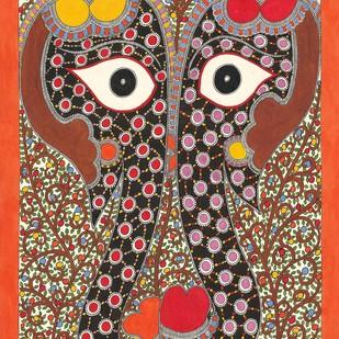 Elephant Couple Digital Print by Sarita Devi,Folk