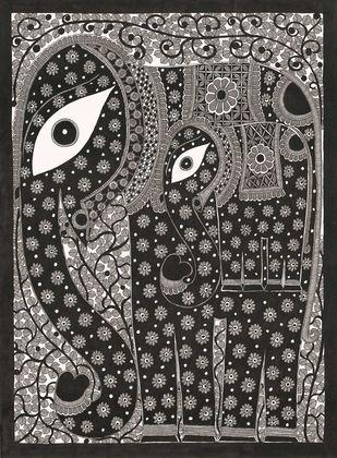 Elephant Digital Print by Sarita Devi,Folk
