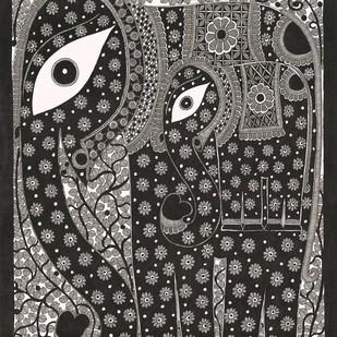 Elephant by Sarita Devi, Folk Painting, Acrylic on Paper, Gray color