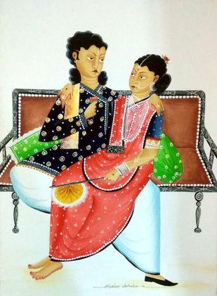 Babu Bibi in a romantic mood by Bhaskar Chitrakar, Folk Painting, Natural colours on paper, Beige color