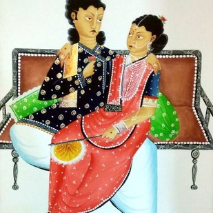 Babu Bibi in a romantic mood by Bhaskar Chitrakar, Folk Painting, Natural colours on paper, Beige color