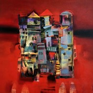 Cityscape-IV by Harshada Kolapkar, Geometrical Painting, Acrylic on Canvas, Red color