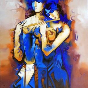 Concert-9999 by Arvind Kolapkar, Expressionism Painting, Acrylic on Canvas, Blue color