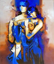 Concert-9999 by Arvind Kolapkar, Expressionism Painting, Acrylic on Canvas, Blue color