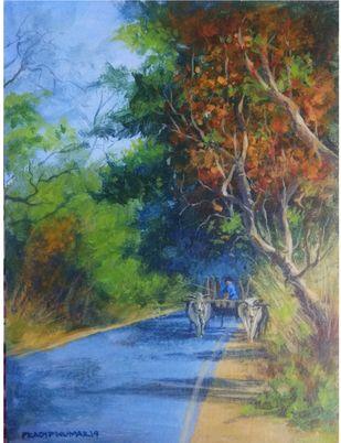 Bullockcart by Pradipkumar Jadhav, Impressionism Painting, Watercolor on Paper, White color