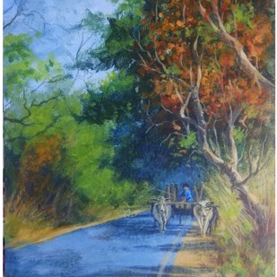 Bullockcart by Pradipkumar Jadhav, Impressionism Painting, Watercolor on Paper, White color
