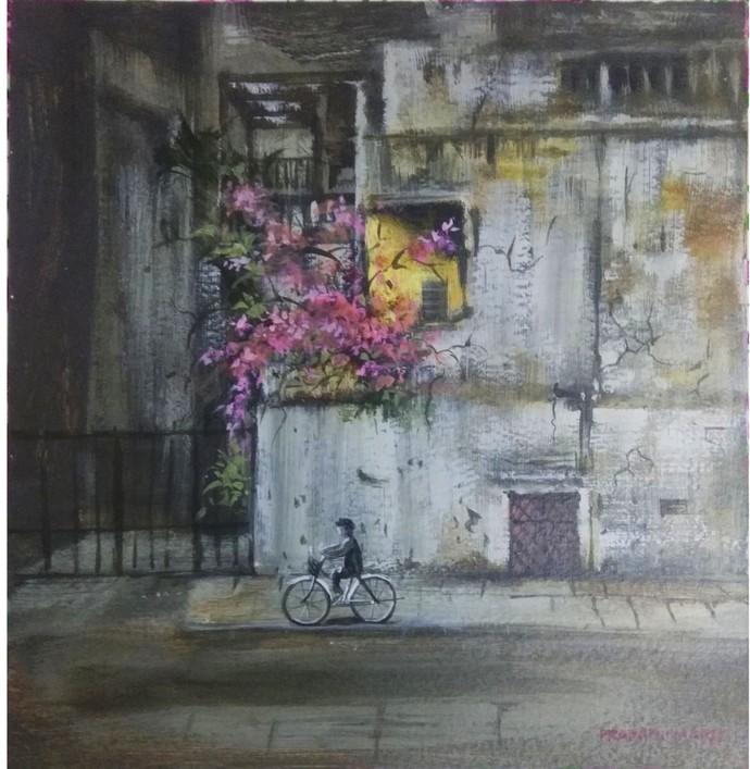 Cycle by Pradipkumar Jadhav, Impressionism Painting, Water Based Medium on Paper, Gray color