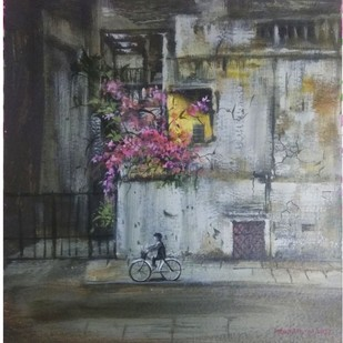 Cycle by Pradipkumar Jadhav, Impressionism Painting, Water Based Medium on Paper, Gray color