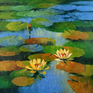 Waterlilies by Swati Kale, Expressionism Painting, Oil on Canvas, Green color