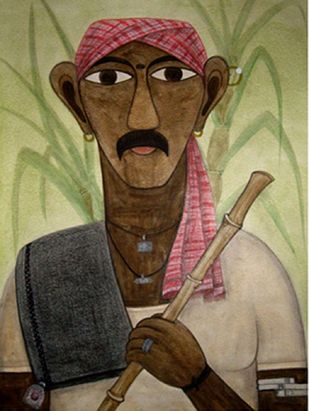 Telangana Man by Kandi Narsimlu, Expressionism Painting, Watercolor and charcoal on paper, Brown color