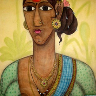 Telangana women by Kandi Narsimlu, Expressionism Painting, Watercolor and charcoal on paper, Beige color