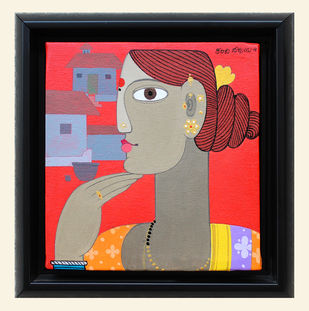 Telangana woman by Kandi Narsimlu, Expressionism Painting, Acrylic on Canvas, Brown color