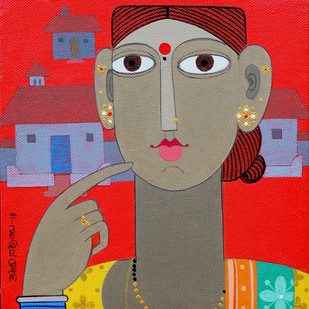 Telangana woman 2 by Kandi Narsimlu, Expressionism Painting, Acrylic on Canvas, Brown color