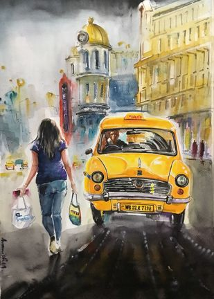 Esplanade Evenings.. Pujo Asche.. by Avanish Trivedi, Impressionism Painting, Watercolor on Paper, Beige color