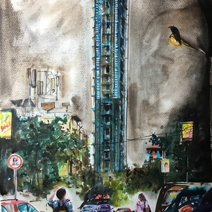 The 42 by Avanish Trivedi, Impressionism Painting, Watercolor on Paper, Gray color