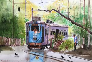 Calcutta Tram...Calcutta Nostalgia by Avanish Trivedi, Impressionism Painting, Watercolor on Paper, Green color