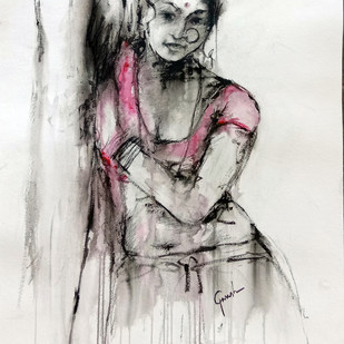 INDIAN LADY 15 by MADURAI GANESH, Illustration Painting, Watercolor and charcoal on paper, Gray color