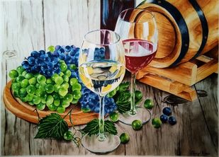 Summer Wine by Cheryl Monis, Impressionism Painting, Watercolor on Paper, Brown color