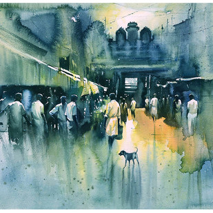 temple entrance_01 by nadees prabou, Impressionism Painting, Watercolor on Board, Green color