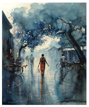 Rainy Street_01 Digital Print by nadees prabou,Impressionism