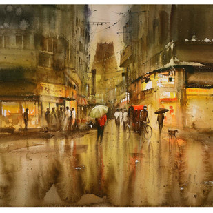 Temple Street_01 by nadees prabou, Impressionism Painting, Watercolor on Board, Brown color