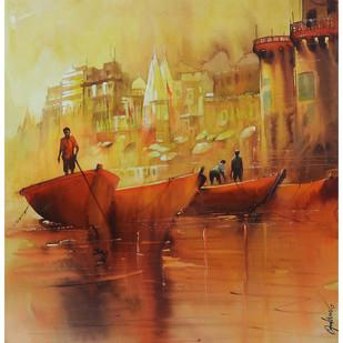 Varanasi_01 Digital Print by nadees prabou,Impressionism