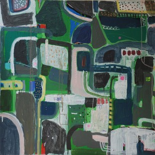 Green City by Harpreet Singh, Abstract Painting, Acrylic on Canvas, Green color