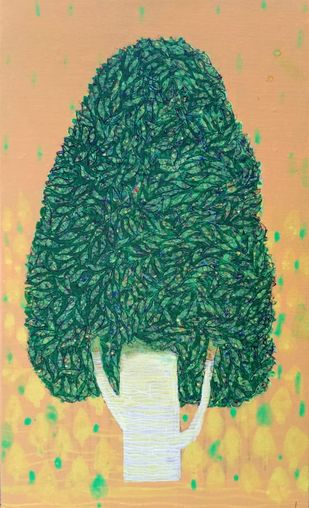 tree...03 by Ganesh Jadhav , Expressionism Painting, Acrylic on Canvas, Beige color