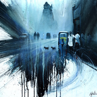 Street Temple_05 by nadees prabou, Impressionism Painting, Acrylic on Canvas, Blue color
