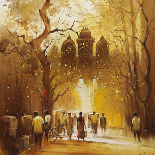 Temple Entrance_06 by nadees prabou, Impressionism Painting, Watercolor on Paper, Brown color