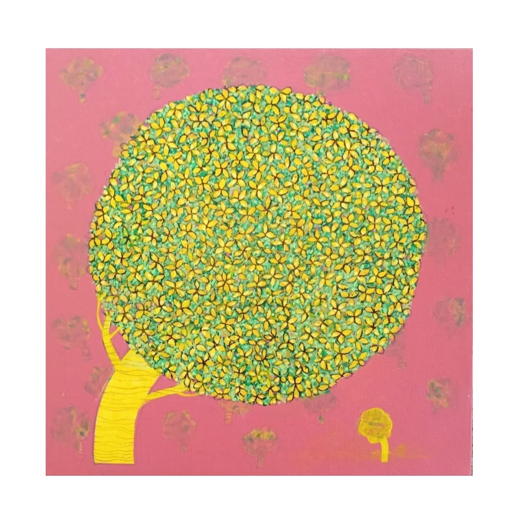 Tree ..02 by Ganesh Jadhav , Expressionism Drawing, Acrylic on Canvas, Pink color