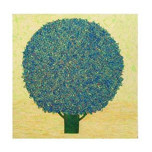 Tree..01 by Ganesh Jadhav , Impressionism Painting, Acrylic on Canvas, Green color