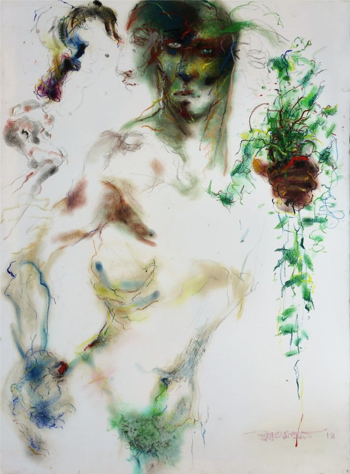Greenskeeper by Subroto Mandal, Impressionism Painting, Pastel on Paper, Gray color