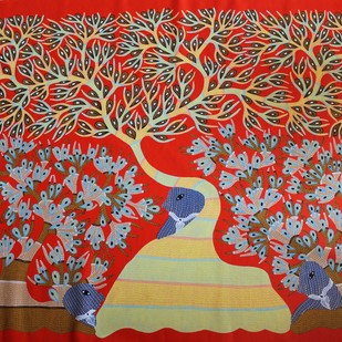 Untitled by Ram Singh Urveti, Folk Painting, Acrylic & Ink on Canvas, Brown color