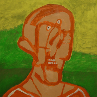 Untitled by F N Souza, Expressionism Painting, Acrylic on Paper, Green color