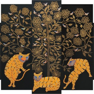 Untitled by Japani Shyam, Folk Painting, Mixed Media on Canvas, Brown color