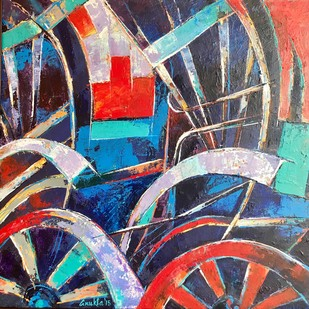 Rickshaw - Abstract by Anukta M Ghosh, Abstract Painting, Acrylic on Canvas, Brown color