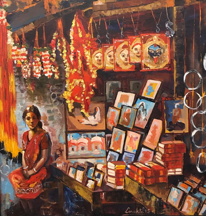 HOPE ON SALE by Anukta M Ghosh, Expressionism Painting, Acrylic on Canvas, Brown color