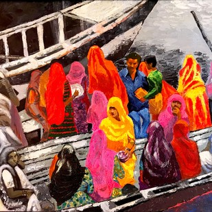 The Journey by Anukta M Ghosh, Expressionism Painting, Acrylic on Canvas, Brown color