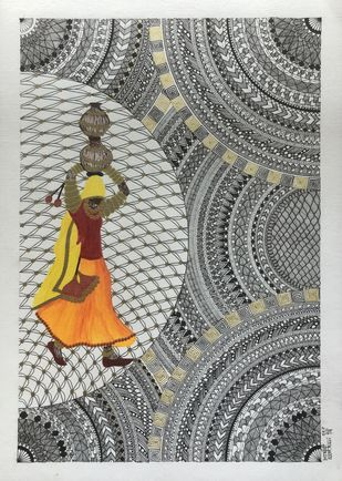 Tribal Woman by Aarthavi, Illustration Drawing, Pen & Ink on Paper, Gray color